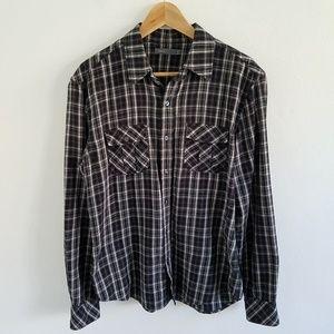 Vince Plaid Flannel Longsleeve Button Front Shirt